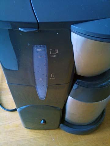 Melitta(メリタ) のコーヒーメーカー、アロマサーモ ステンレス ダークブラウン JCM-561/TDの水タンクの目盛はちょっと見づらい